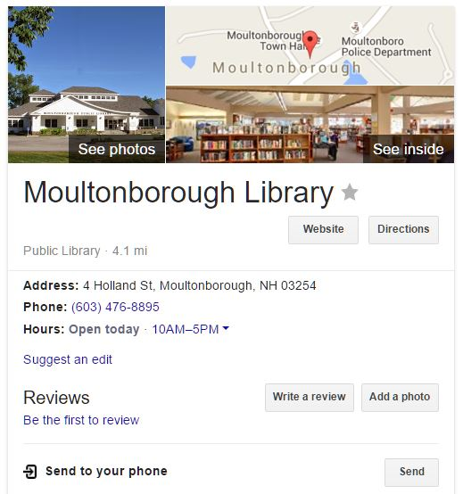 Moultonborough Library Info Page
